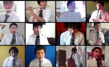 Ensamble Instrumental del colegio PuenteMaipo logra grabar video a distancia en medio de la cuarentena