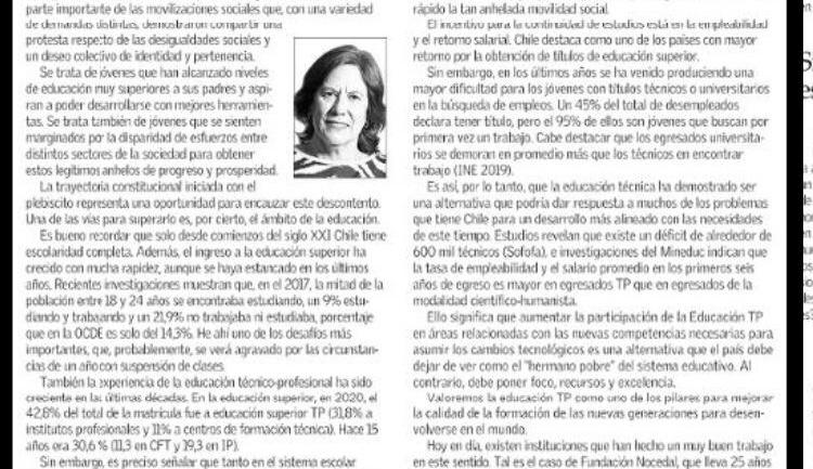 Columna de Mariana Aylwin en el diario El Mercurio destaca labor de Fundación Nocedal