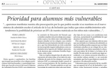 Columna de opinión El Mercurio: Prioridad para alumnos más vulnerables