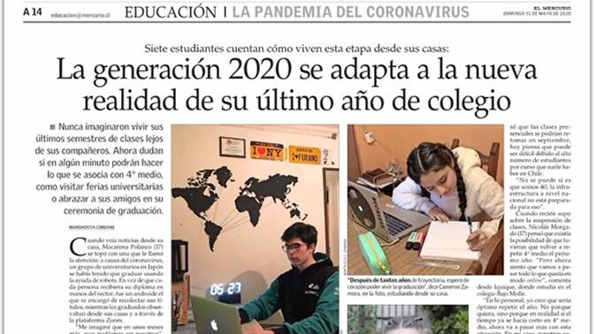 Alumnos de los colegios Almendral y Nocedal en el diario El Mercurio